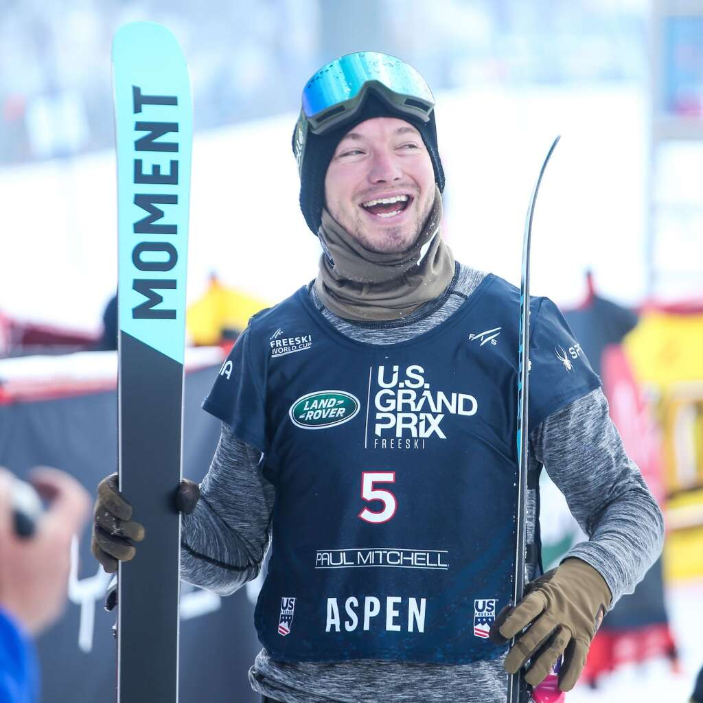 Nevada's David Wise smiles after a run during the men's freeski halfpipe finals of the U.S. Grand Prix on Sunday, March 21, 2021, at Buttermilk Ski Area in Aspen. Photo by Austin Colbert/The Aspen Times.