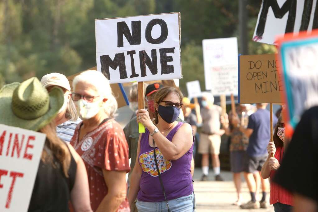 About 60 protesters gathered along Brunswick Road in front of Rise Gold's access to the Idaho Maryland Mine Sept. 17 to show their opposition to the corporation's plans to re-open the gold mine. | Photo: Elias Funez