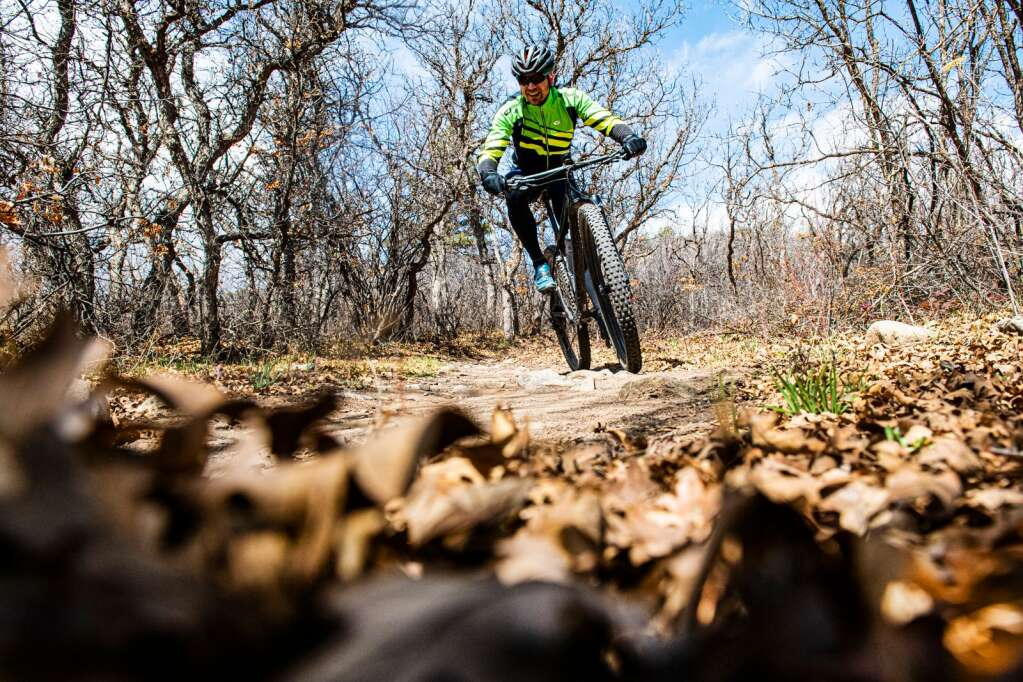 A biker rides down a Monte Carlo trail at Prince Creek Trails in Carbondale on Wednesday, April 15, 2020. (Kelsey Brunner/The Aspen Times)