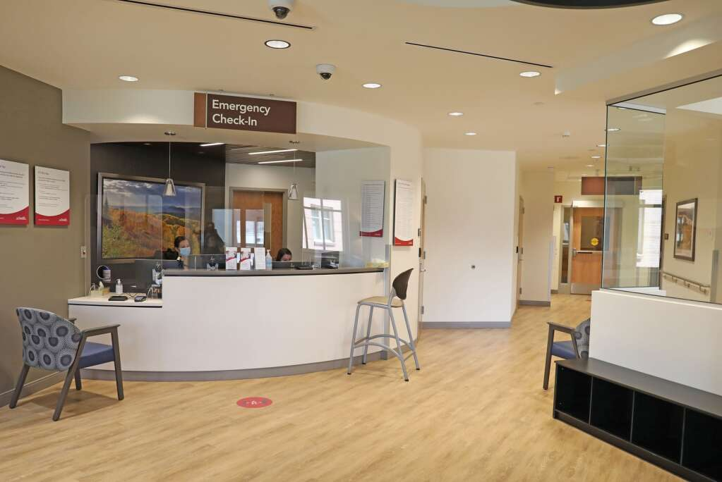 The entrance for the renovated emergency department at  UCHealth Yampa Valley Medical Center emergency department is in the same place, but has been updated to offer patients a more streamlined process when they arrive, and a place for family and friends can be comfortable. (Photo by John F. Russell)