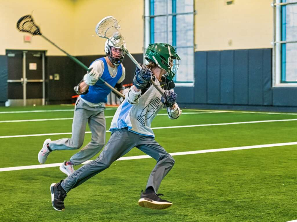 The Summit High School boys lacrosse team practices at the Summit High School indoor field on Tuesday, May 4, 2021 in Breckenridge. | Photo by Joel Wexler / Rocky Mountain.Photography