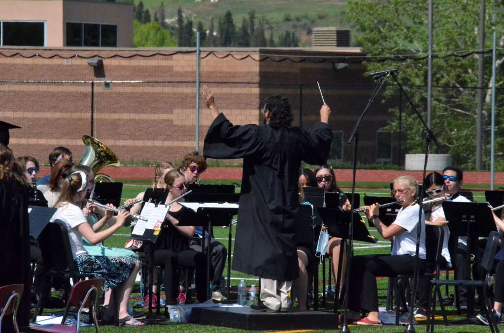 Ryan Seyedian leads the Steamboat Springs High School Band in playing