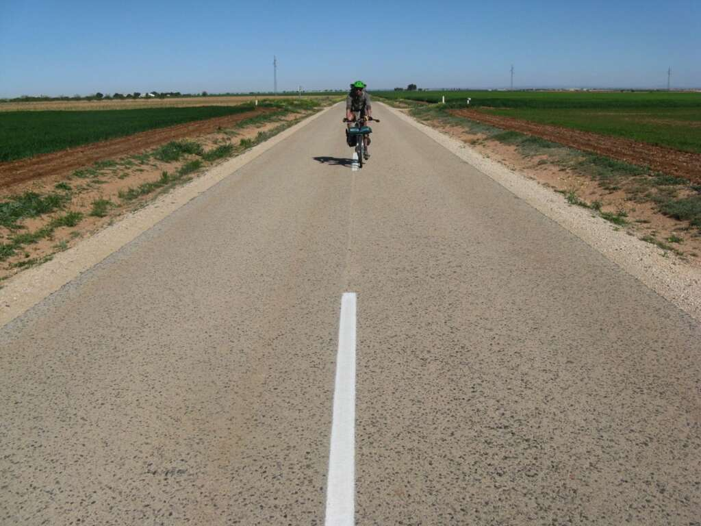 The open road, no traffic, blissful touring on the plains of Spain.