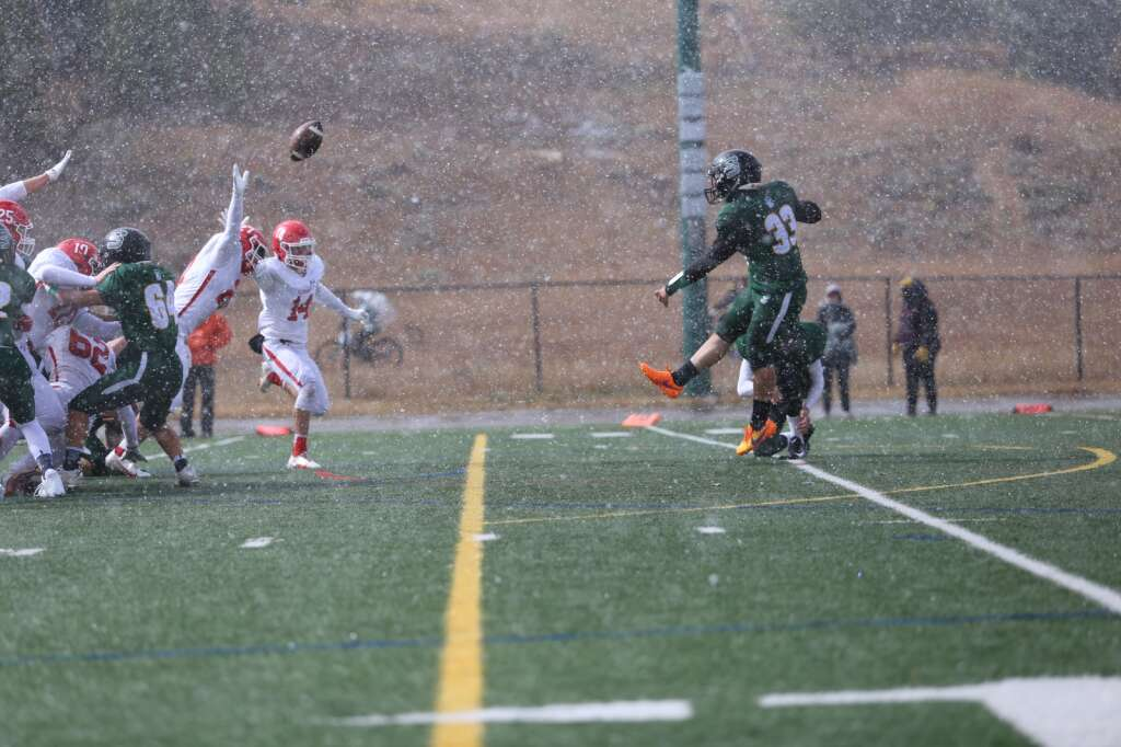 Summit senior Jackson Segal kicks a point-after during the Tigers 41-0 win over the Glenwood Springs Demons on Saturday, Oct. 9 at Tiger Stadium in Breckenridge. | Kerri Elam/Courtesy photo