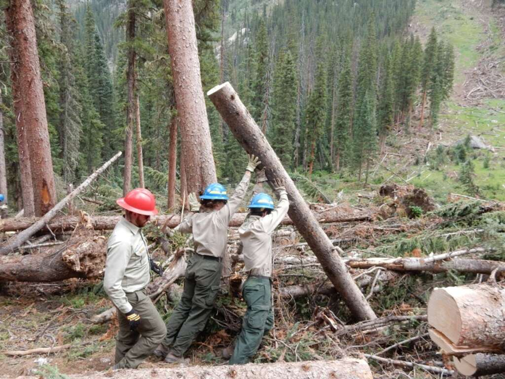 Members of the Aspen-Sopris Ranger District wilderness and trails crews clear avalanche debris in the South Fork of the Fryingpan in August 2019. | Scott Condon/The Aspen Times