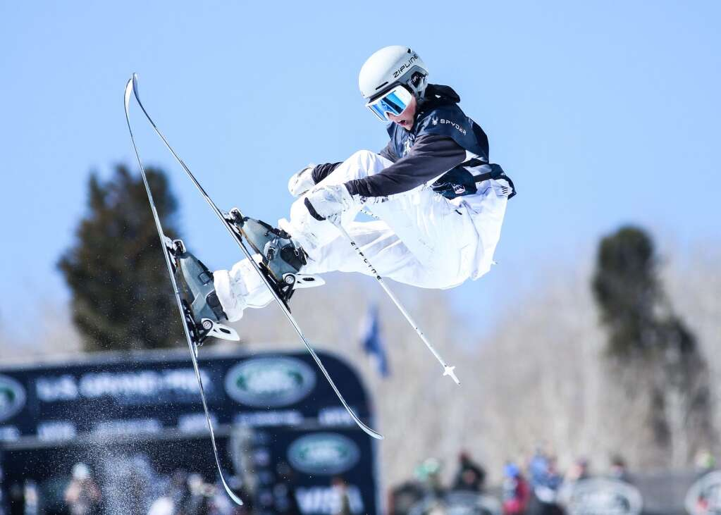 American Jenna Riccomini competes in the women's freeski halfpipe qualifier of the Land Rover U.S. Grand Prix and World Cup on Friday, March 19, 2021, at Buttermilk Ski Area in Aspen. Photo by Austin Colbert/The Aspen Times.
