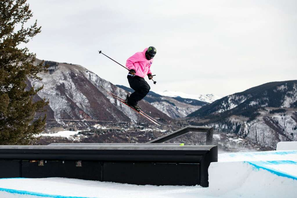 American freestyle skier Quinn Wolfermann transitions onto a rail during a practice session on the 2021 X Games Aspen slopestyle course at Buttermilk on Thursday, Jan. 28, 2021. (Kelsey Brunner/The Aspen Times)