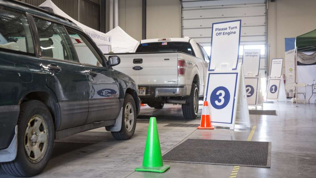 Summit County residents line up at the Utah Film Studios for their COVID-19 vaccines. Nearly 70% of adult county residents have received at least one dose of a COVID-19 vaccine. | Tanzi Propst/Park Record