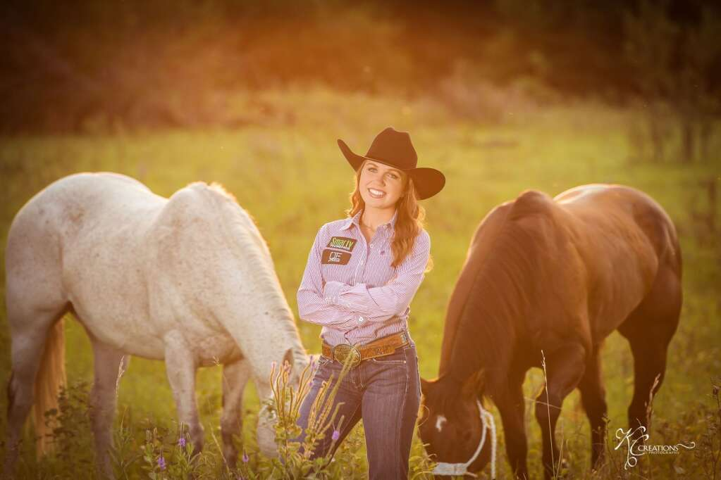 Rylee Naprstek, the valedictorian of the Gothenburg High School Class of 2021, is a breakaway roper, team roper and goat tyer in high school rodeo. Photo courtesy KC Creations
