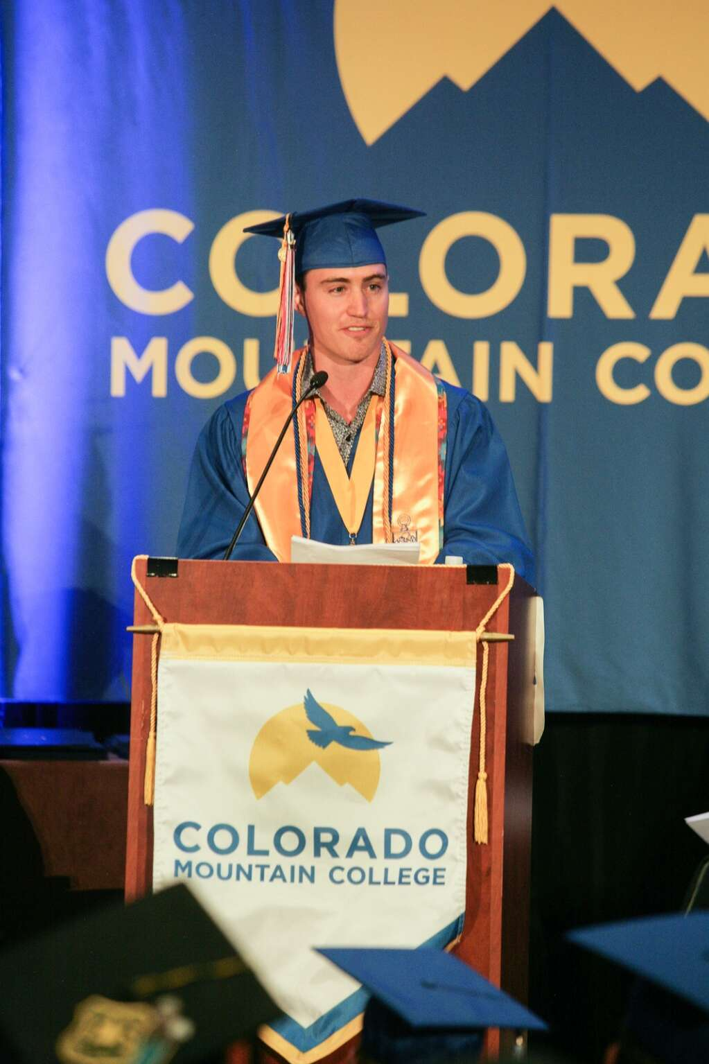 Pike James Wipperfurth speaks at the CMC Graduation Ceremony in Steamboat Springs, Colorado on May 8. (Photo by David Watson)