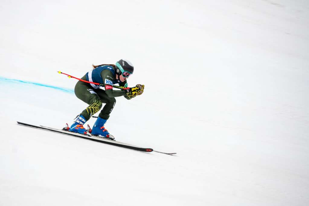 Aspen's Galena Wardle competes in the Women's Super G National Championships at Aspen Highlands on Tuesday, April 13, 2021. (Kelsey Brunner/The Aspen Times)