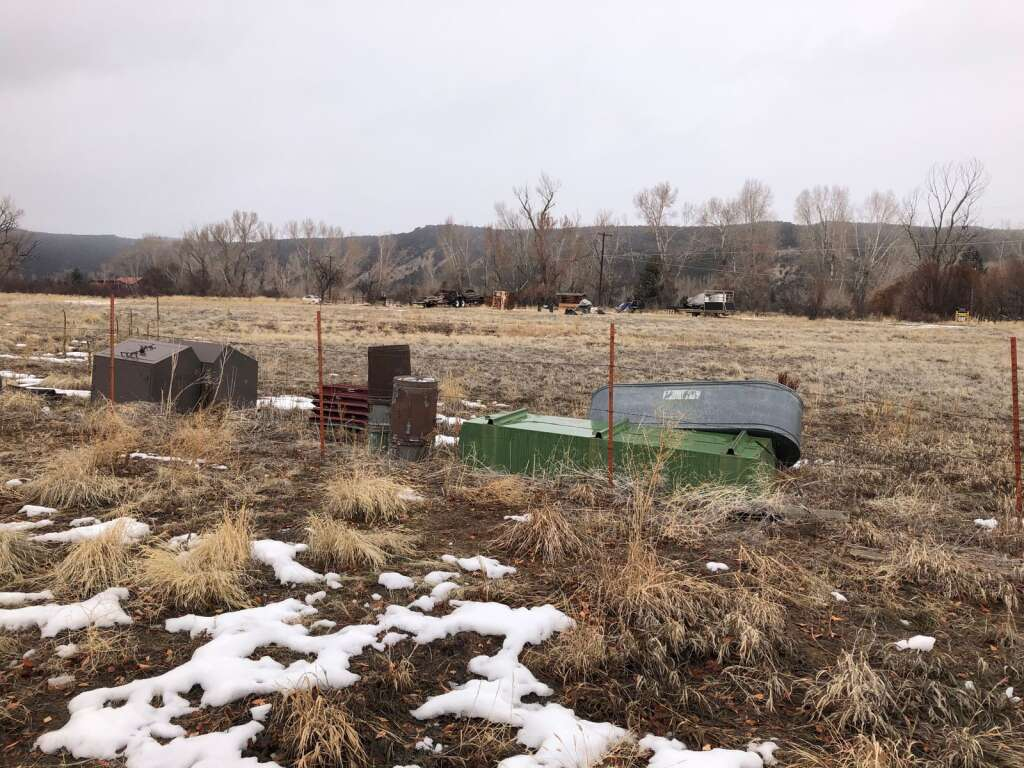This February photo shows the U.S. Forest Service 'bone yard' where materials are stored next to Crown Mountain Park. Debate has started on future uses. | Aspen Times file