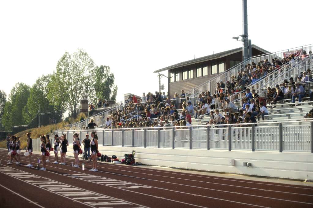 A huge crowd gathered for the Steamboat Springs football season opener against Valley High School on Saturday night.  (Photo by Shelby Reardon)