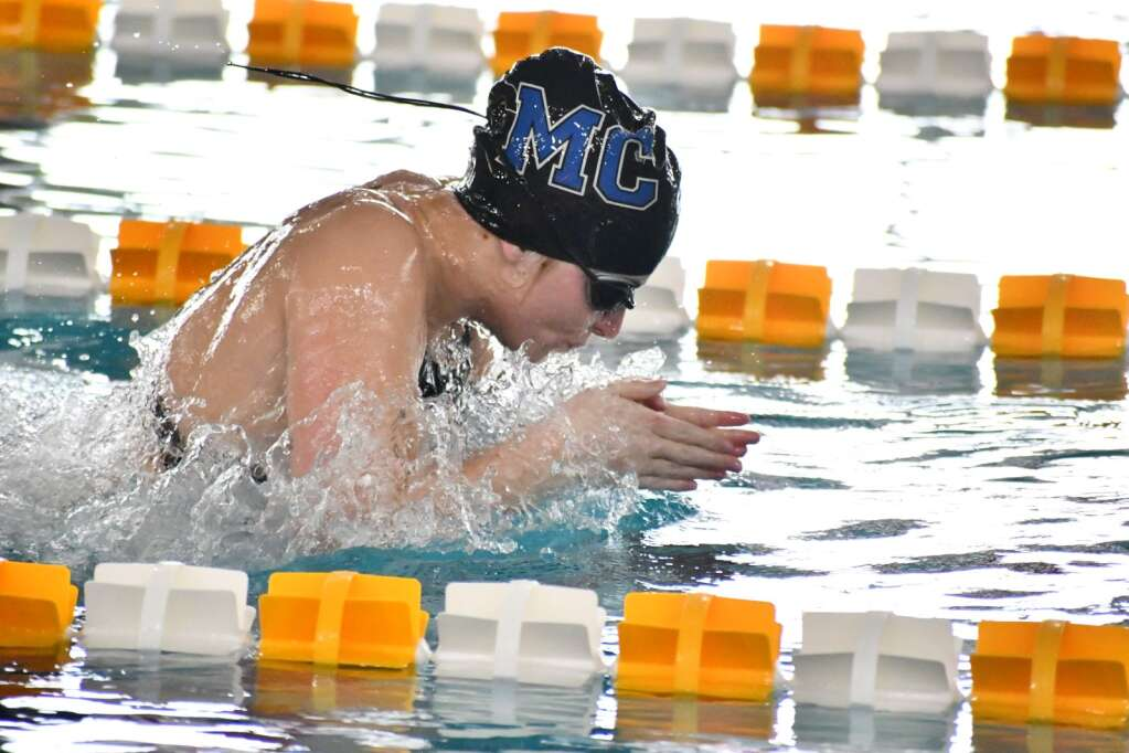 Senior Kelsey McDiffett competes in the breaststroke at regionals on the campus of Colorado Mesa University. (Andy Bockelman / For Craig Press)