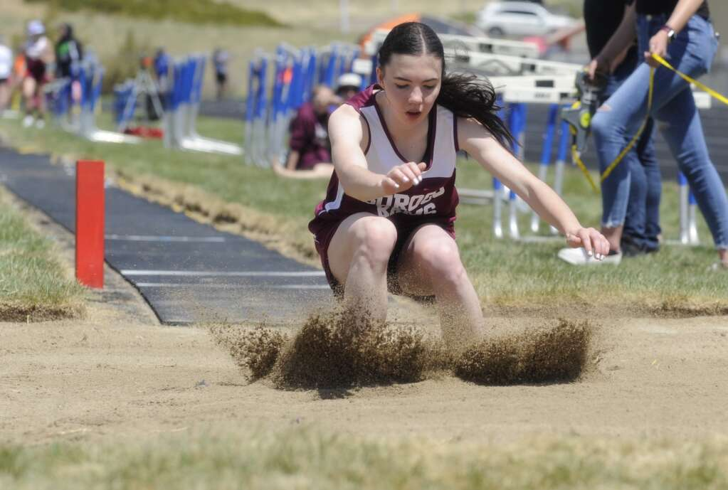 A Soroco athlete competes in long jump at the Clint Wells Invitational in Craig on Friday. (Photo by Shelby Reardon)