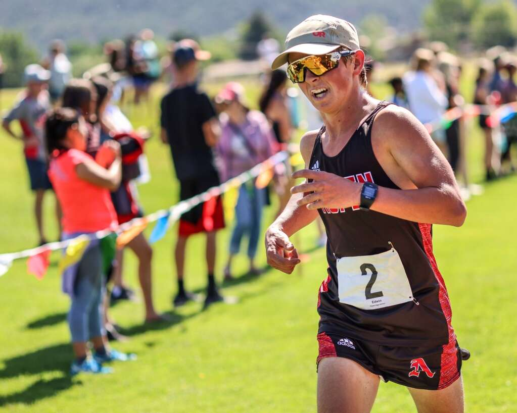 Aspen's Edwin Ryerson competes in the Longhorn Invitational cross country meet on Saturday, Aug. 28, 2021, at Crown Mountain Park in El Jebel. Photo by Austin Colbert/The Aspen Times.