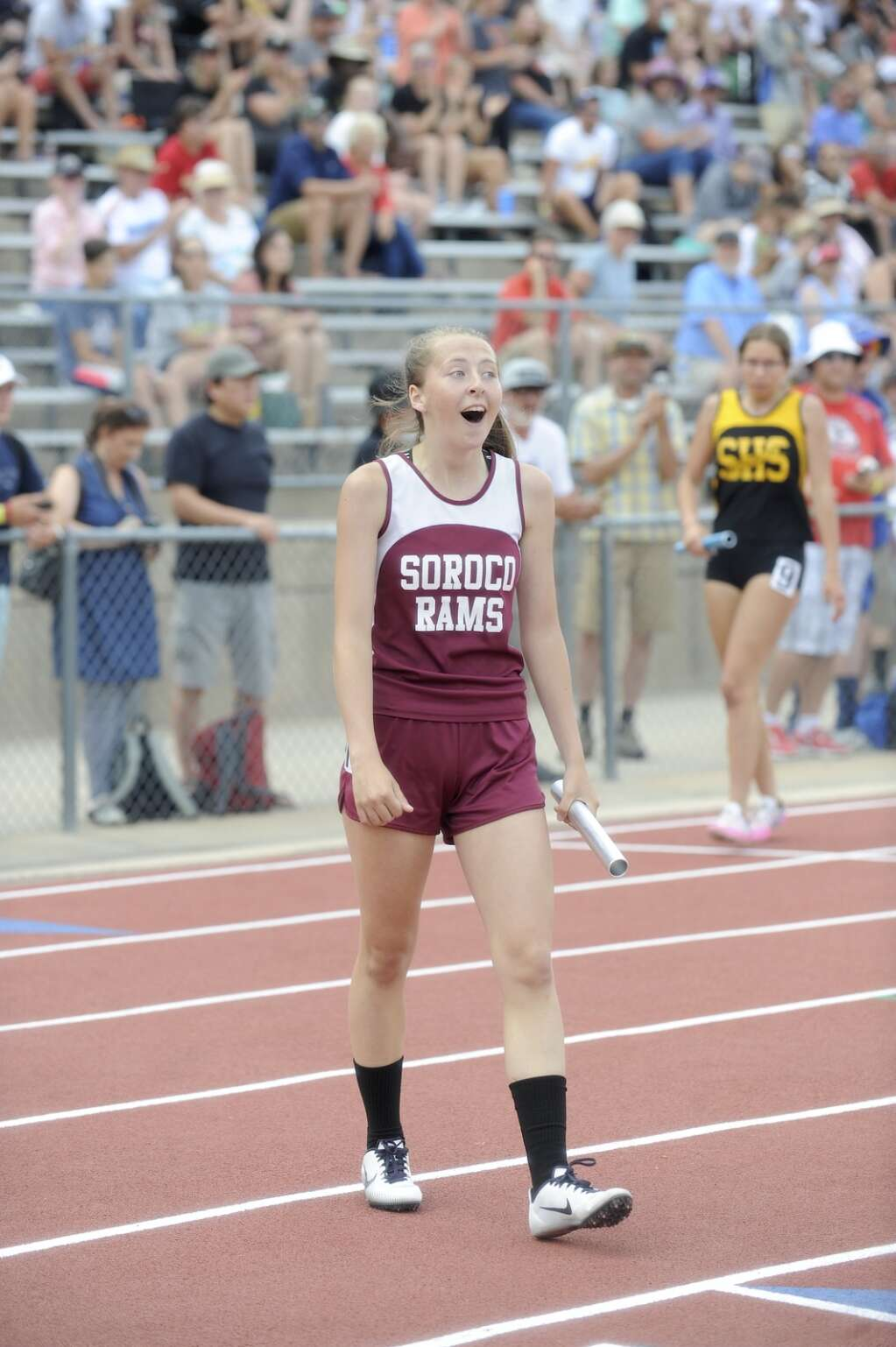 Soroco junior Kayedence Bruner reacts to seeing her team's time after winning the 4x200 prelims at the CHSAA Track and Field State Championships at JeffCo Stadium on Thursday. (Photo by Shelby Reardon)