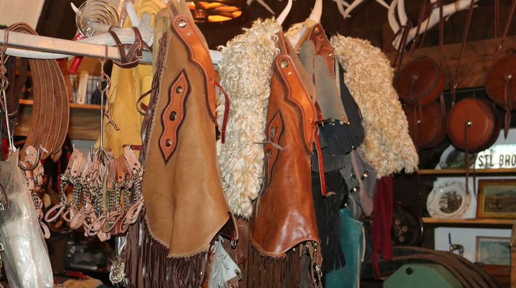 Gerald Foerderer offers custom leatherwork, including chaps like these, at his new storefront, The Village Barn, in Harrison.