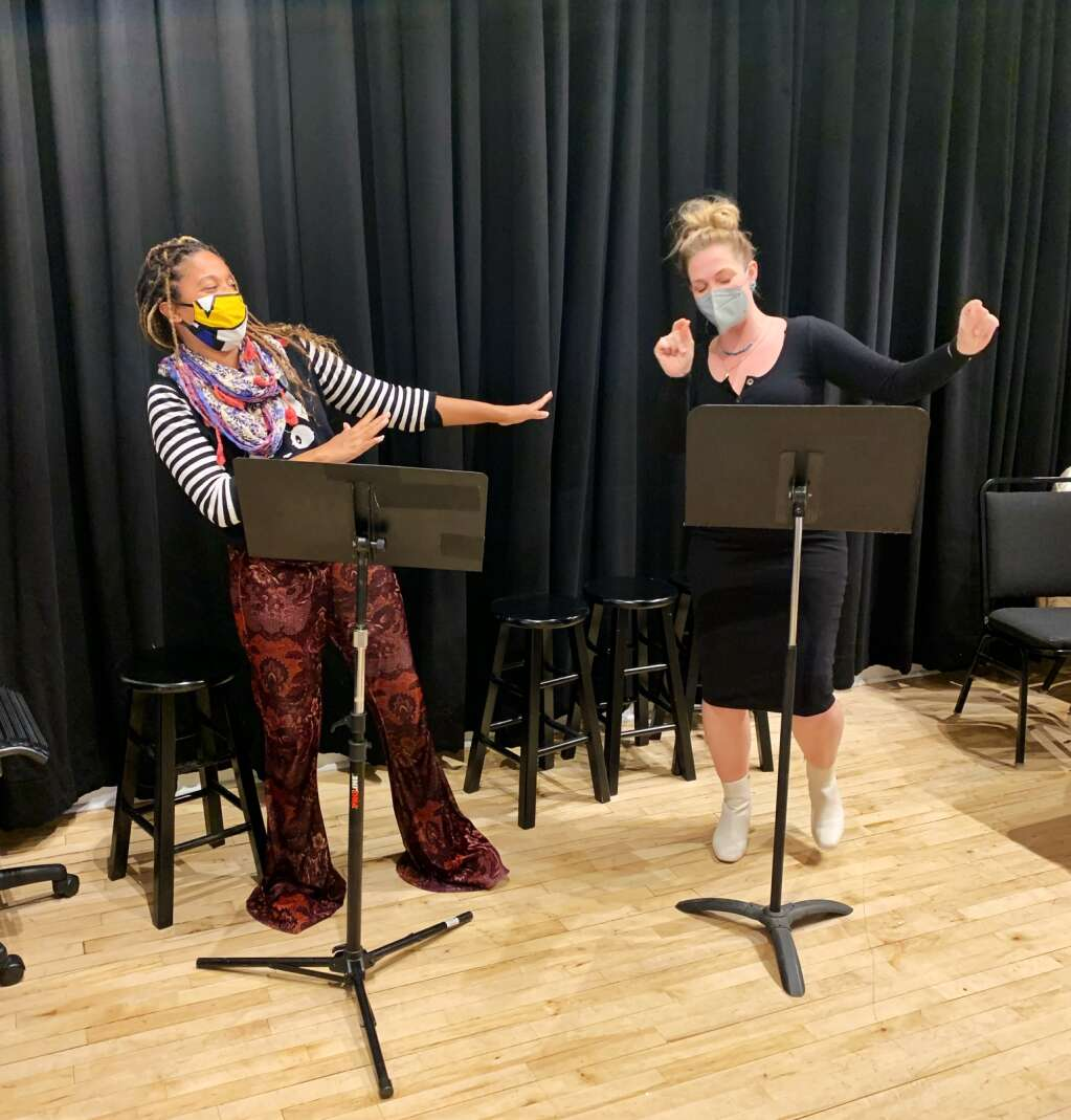 Broadway performers Tamyra Gray (left) and Elizabeth Stanley rehearse for Theatre Aspen's