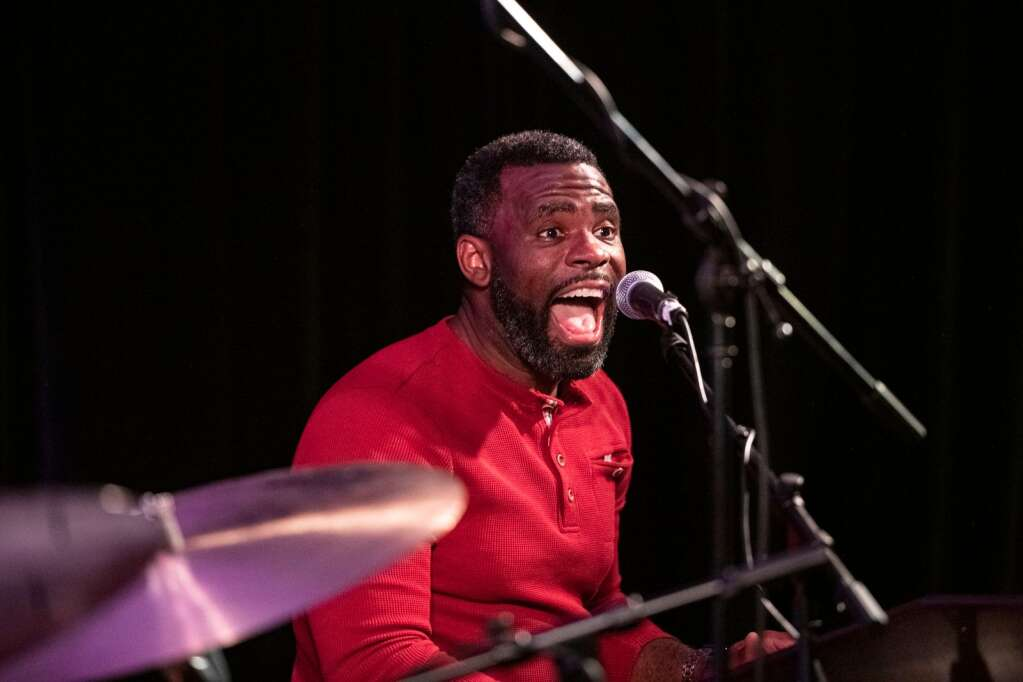 A band member of Jamison Ross enthusiastically plays during the show at The Little Nell at the JAS June Experience in downtown Aspen on Friday, June 25, 2021. (Kelsey Brunner/The Aspen Times)