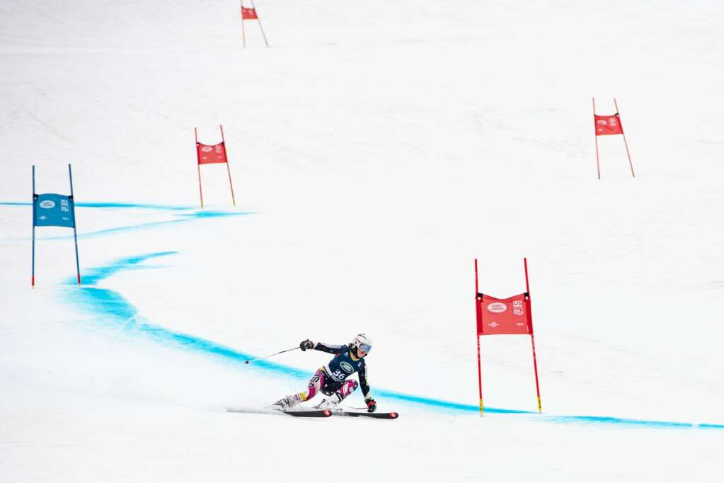 American alpine skier Paige Doyle competes in the Women's Super G National Championships at Aspen Highlands on Tuesday, April 13, 2021. (Kelsey Brunner/The Aspen Times)