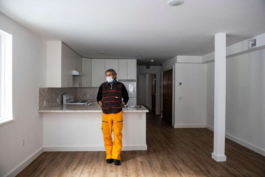 Ted Guy stands in unit 101 at his eight-unit property located at 210 W. Main St. in Aspen on Friday, Feb. 5, 2021. (Kelsey Brunner/The Aspen Times)