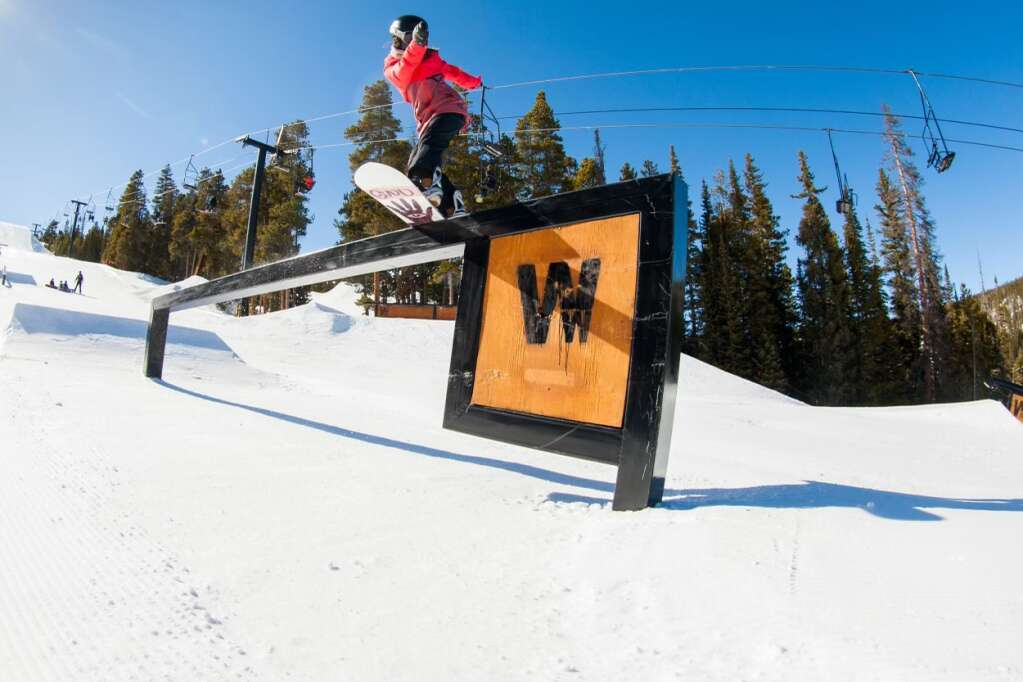 Team Summit snowboarder Alyssa Moroco executes a front boardslide at Copper Mountain Resort. | Photo by Chris Wellhausen