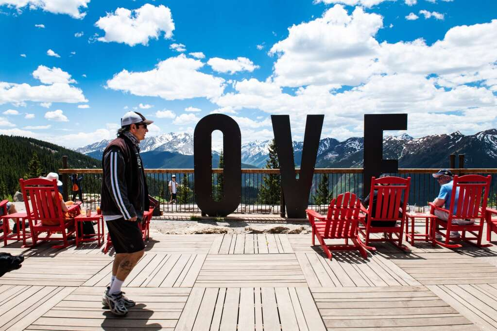 People enjoy the Sun Deck on the top of Aspen Mountain on the first day of the summer gondola season on Friday, June 12, 2020. (Kelsey Brunner/The Aspen Times)