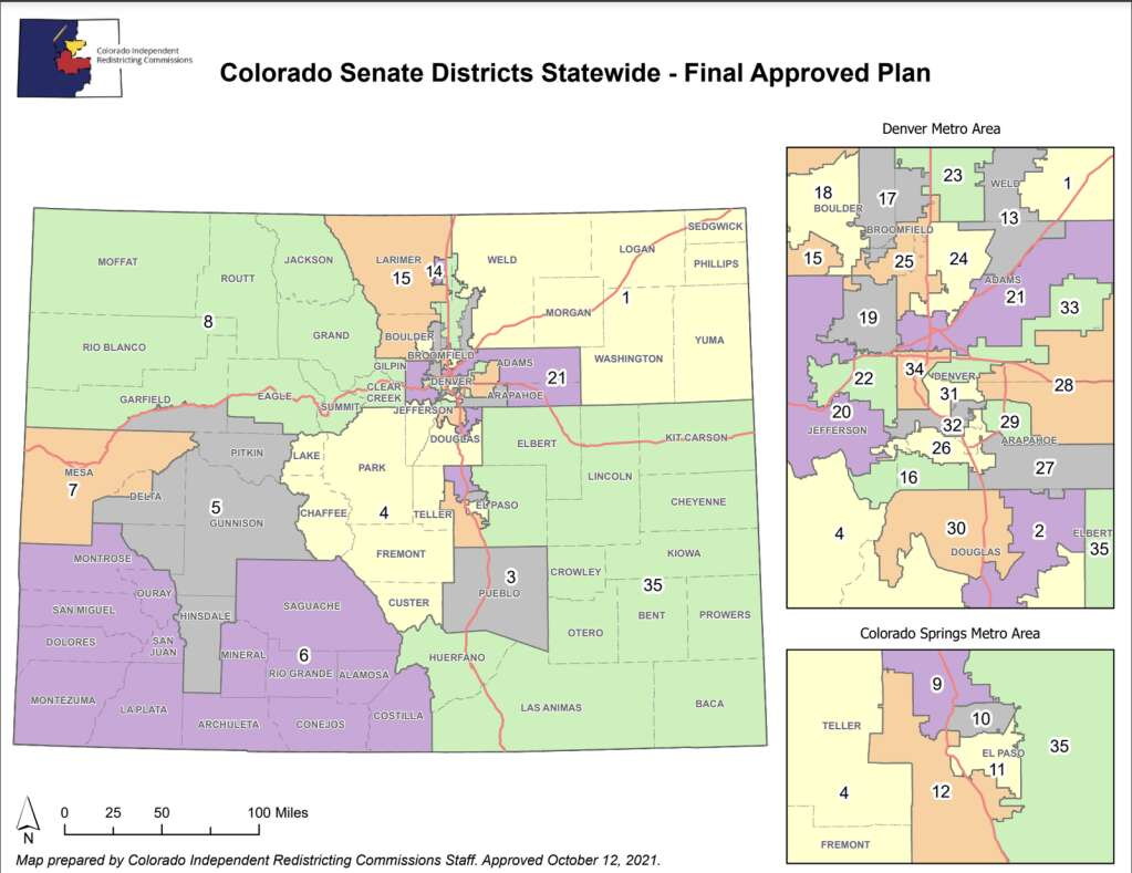 The final plan for the Senate district map was approved Tuesday, Oct. 12. | Colorado Independent Congressional Redistricting Commission/Courtesy map