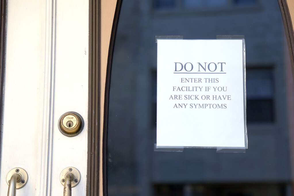 This sign could be seen posted outside of the Bret Harte Retirement Inn in downtown Grass Valley in mid March as the coronavirus became more apparent in Nevada County. | Photo: Elias Funez