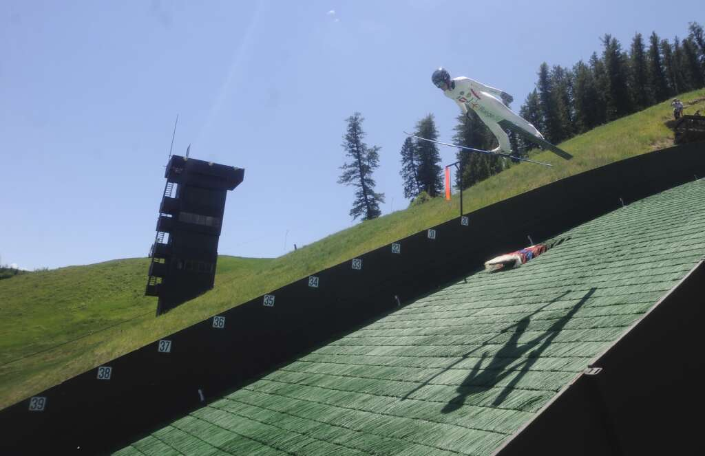 Steamboat Springs native and Olympian Jasper Good won the Jumpin 'and Jammin' event at Howelsen Hill on Sunday July 4th.  (Photo by Shelby Reardon)