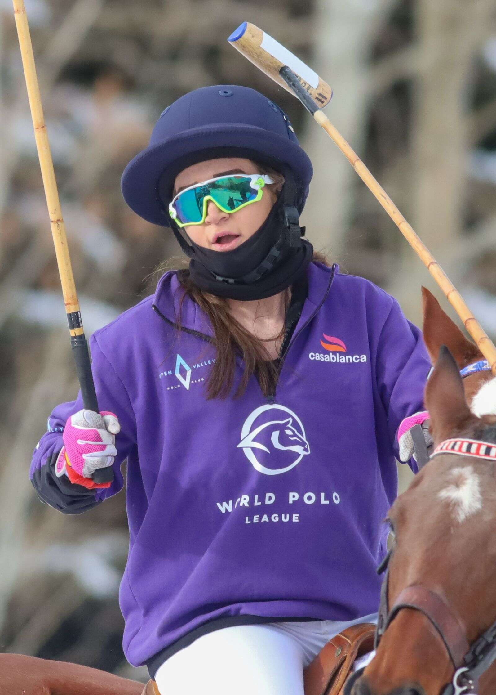 Riley Ganzi rides in the World Snow Polo Championship on Sunday, Dec. 20, 2020, at Rio Grande Park in Aspen. Photo by Austin Colbert/The Aspen Times.