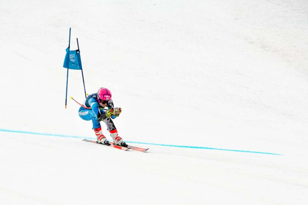 American alpine skier Nellie Rose Talbot competes in the Women's super-G FIS event at Aspen Highlands on Tuesday, April 13, 2021. (Kelsey Brunner/The Aspen Times)