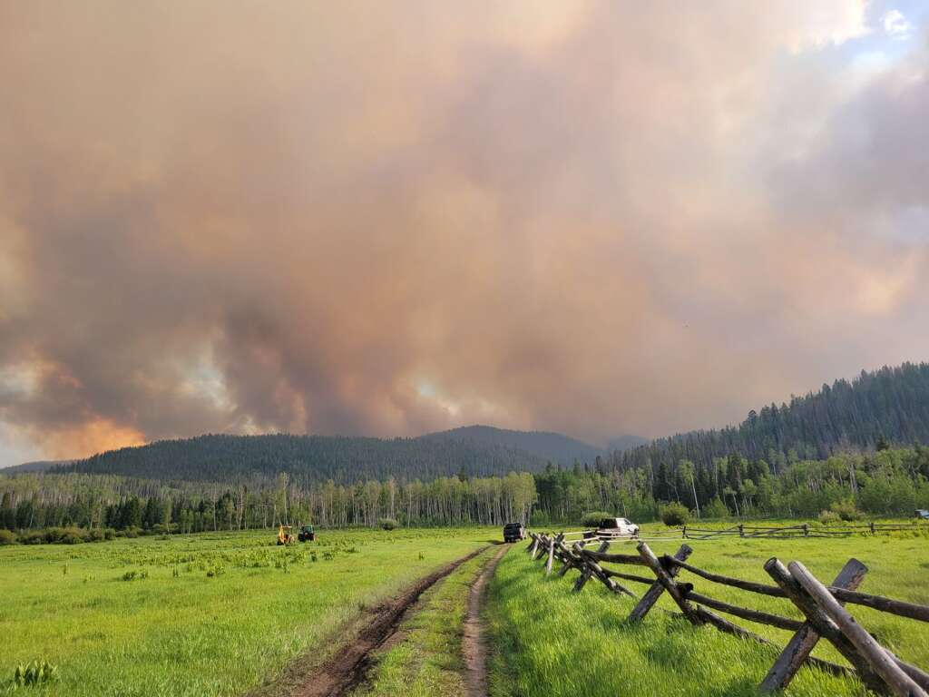 The Muddy Slide Fire on Tuesday as seen from Hideaway Ranch off Routt County Road 16 in South Routt County. (Photo by Dylan Anderson)