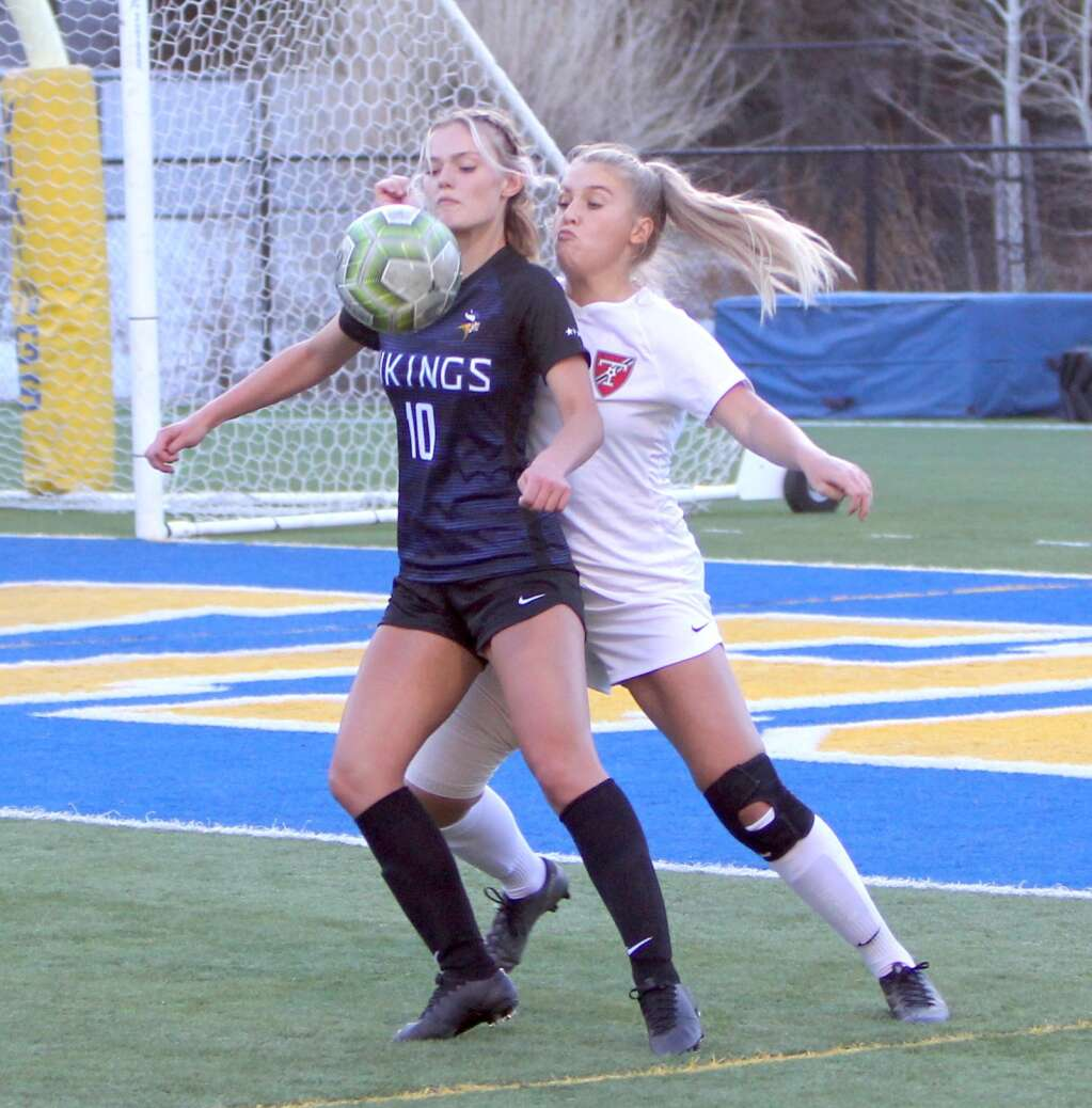 South Tahoe forward Anjelina Maltase gathers a pass in the box. <em id=