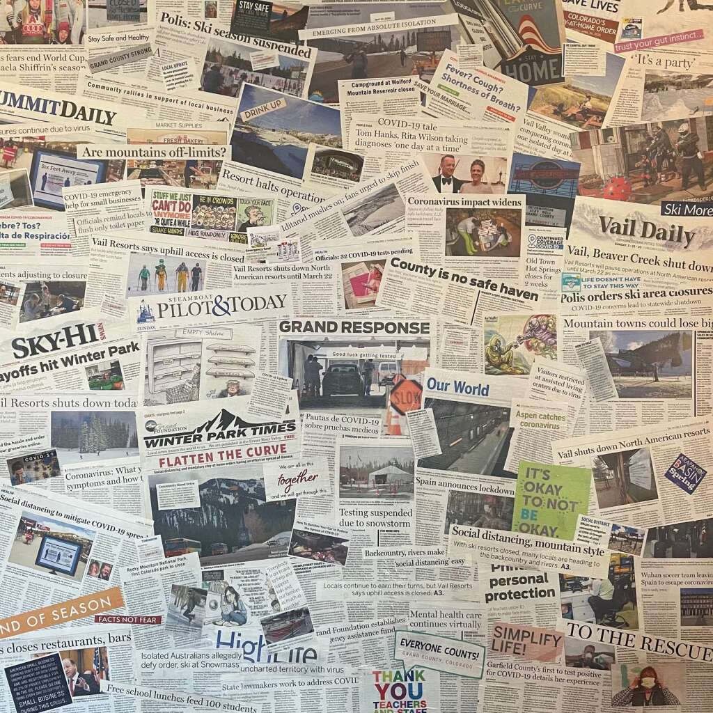 The second step of Henn's process, following the canvas being painted completely black, was to collage the newspaper headlines and articles she had collected. | Courtesy Shannon Foley Henn