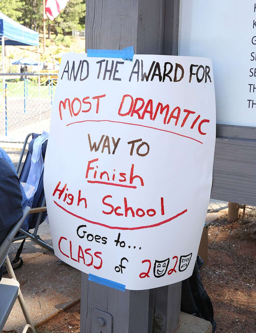 Signs made by school staff adorned the Nevada Union High School campus during their drive-thru graduation ceremony. | Photo: Elias Funez