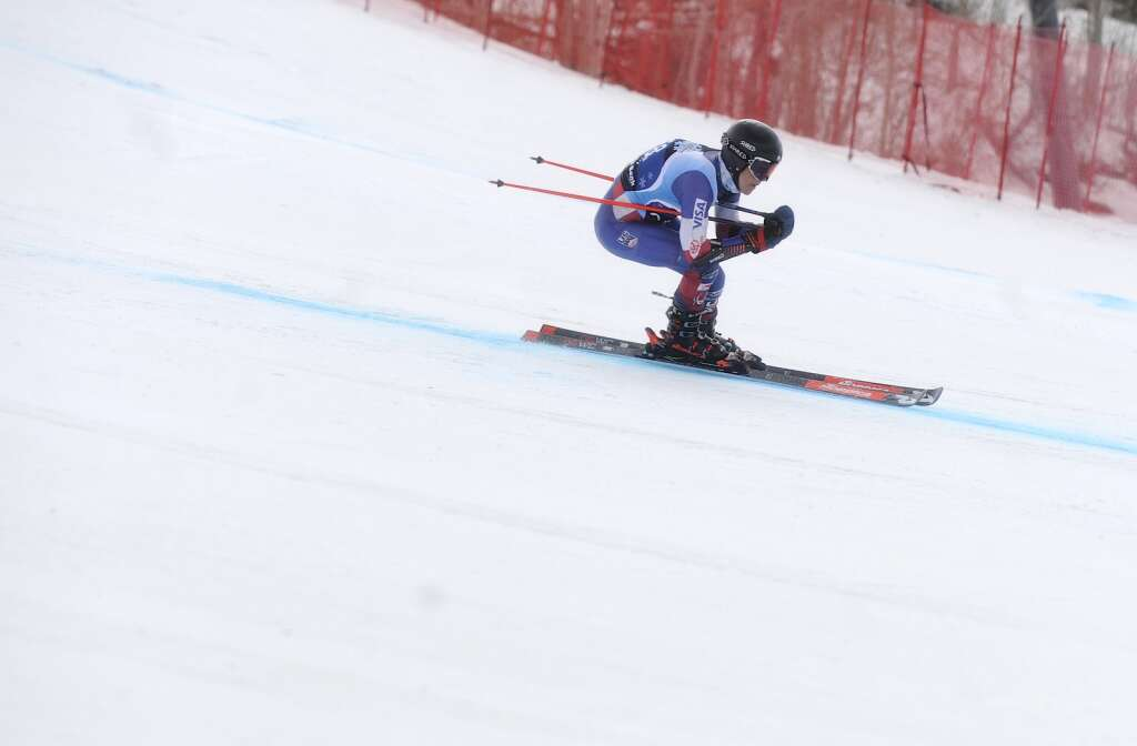 Steamboat Springs Winter Sports Club skier Kyle Kagan gains speed in a Giant Slalom race of the Spring Series at Steamboat Resort on Tuesday.