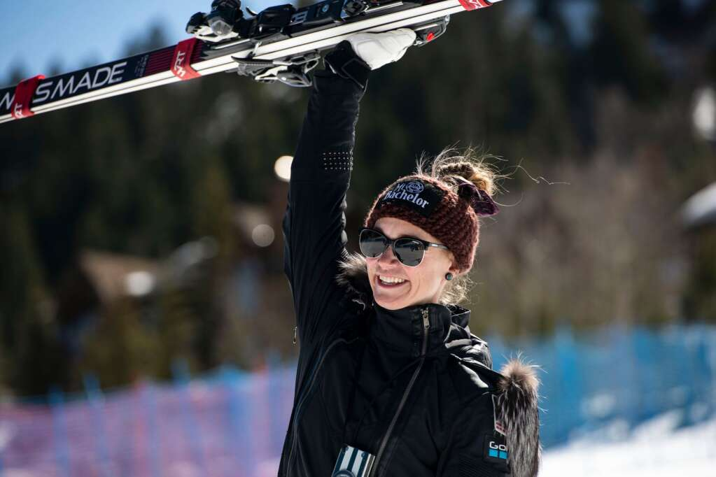 American alpine skier Laurenne Ross celebrates her first place victory at the Women's Downhill National Championships at Aspen Highlands on Saturday, April 10, 2021. Ross will be retiring this week. (Kelsey Brunner/The Aspen Times)