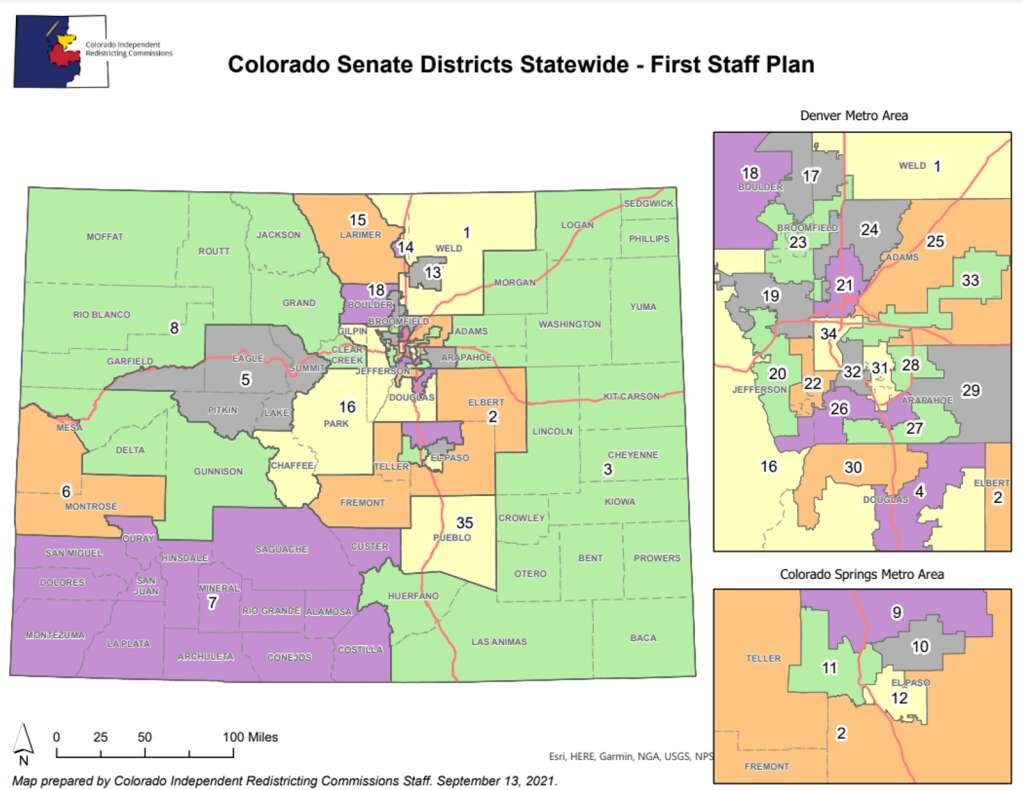 The First Staff Map from the Colorado Independent Redistricting commission would move current Routt County Senator, Republican Bob rankin of Carbondale, out of the district. Courtesy Graphic