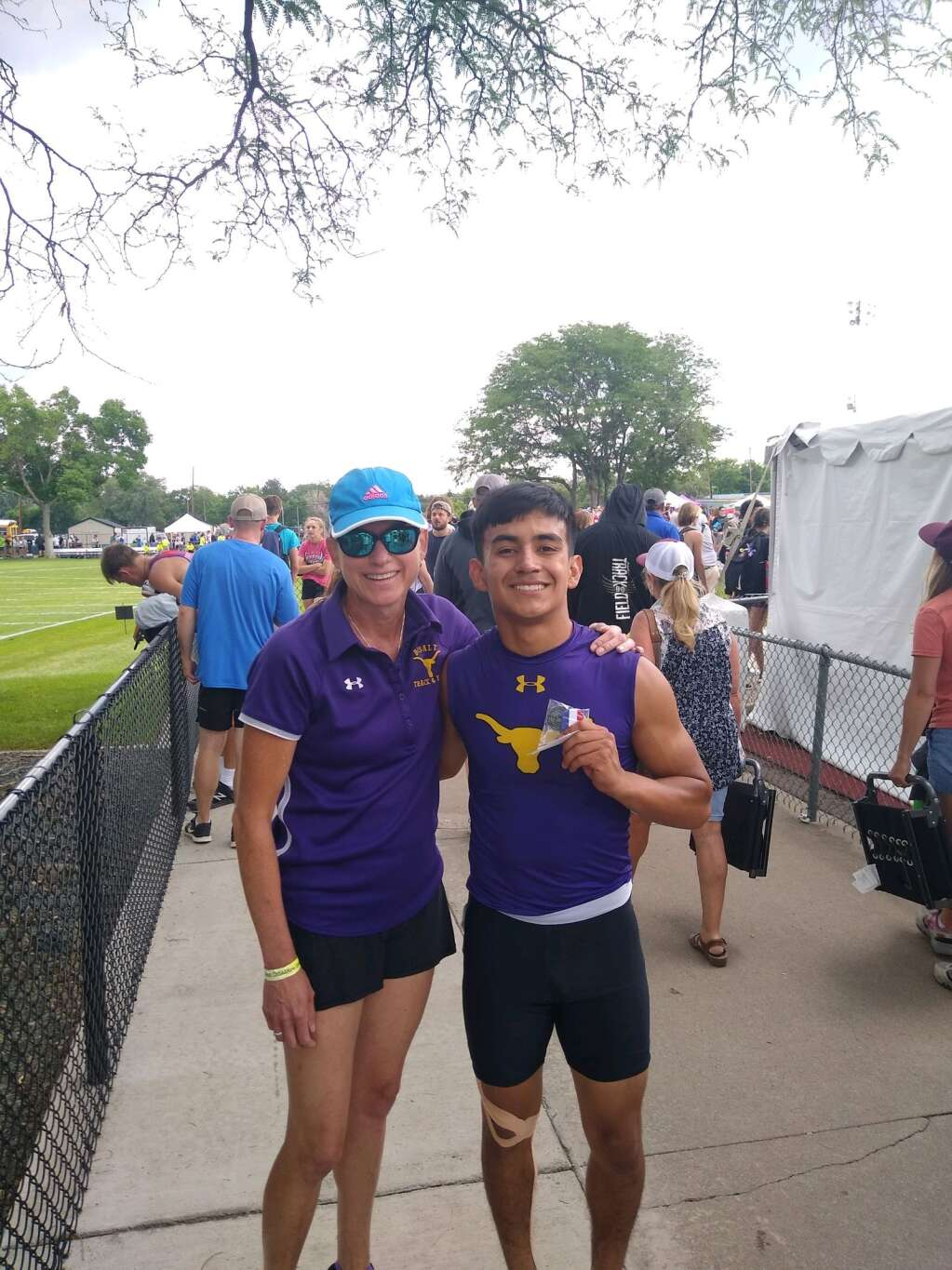 Basalt track coach Allyson Decatur, left, poses with BHS senior Rulbe Alvarado at the state track meet in Lakewood. Courtesy photo.