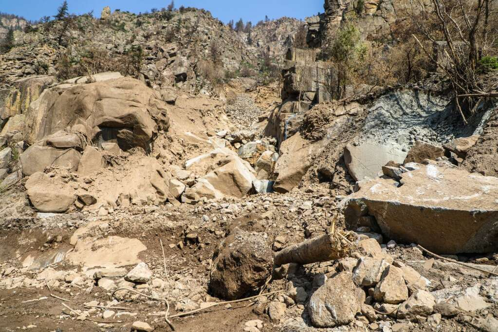 The slide path in Blue Gultch is one of the larger mud and rockslides to hit Interstate 70 recently in Glenwood Canyon.   Chris Dillmann/cdillmann@vaildaily.com