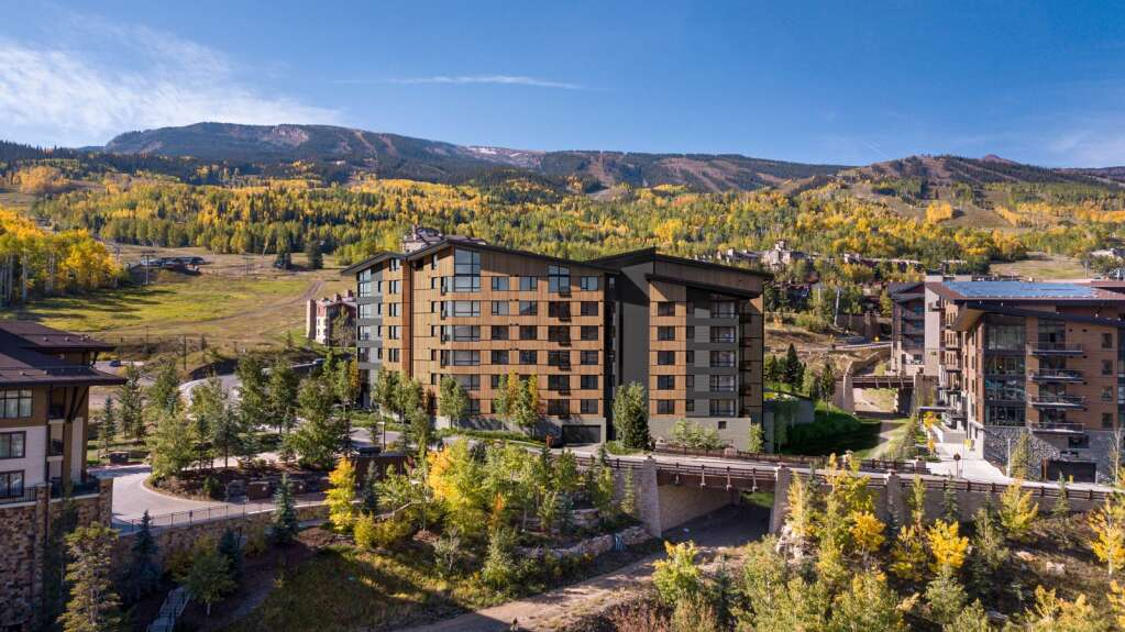 A rendering of the north facade of Electric Pass Lodge, a yet-to-be-built 53-unit residential building Snowmass Base Village. | 3dq.studio/Courtesy image