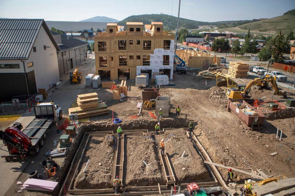 Bluebird Market and some of the new townhomes at Fourth Street Crossing are pictured from the top of the new parking garage in Silverthorne on Tuesday, July 20. | Photo by Tripp Fay / Tripp Fay Photography
