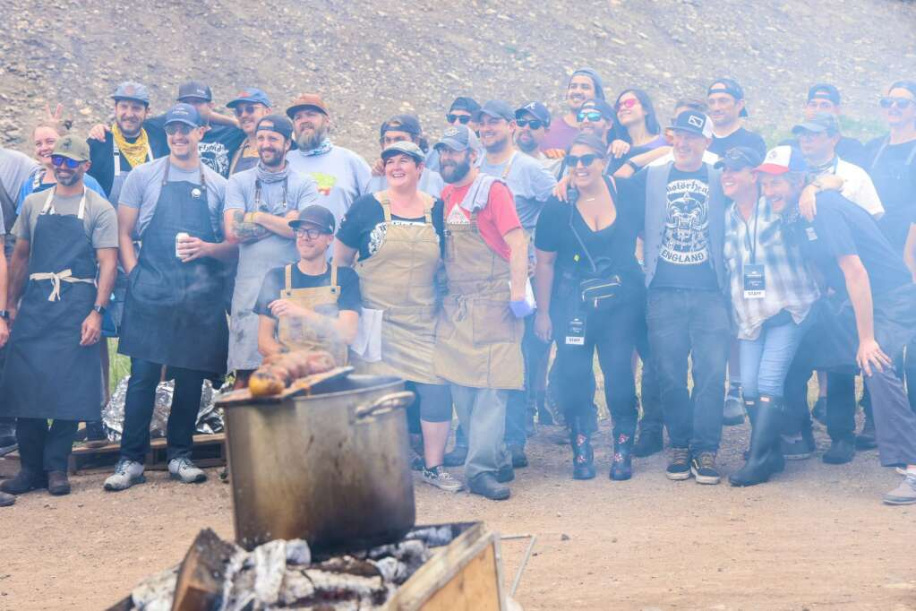 The chefs gather for a photo during Heritage Fire on Saturday, July 31, 2021, in Snowmass Base Village. Photo by Austin Colbert/The Aspen Times.