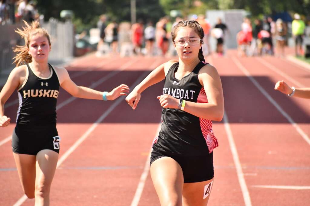 Steamboat Springs senior Aliyah Reimer won the 100 and the 200 at the regional track meet in Grand Junction on Friday. (Andy Bockelman/For The Craig Press)