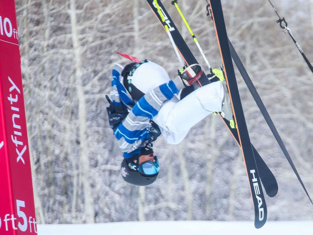 Aspen's Tristan Feinberg competes in the men's freeski halfpipe final at the U.S. Grand Prix and World Cup on Sunday, March 21, 2021, at Buttermilk Ski Area in Aspen. Photo by Austin Colbert/The Aspen Times.