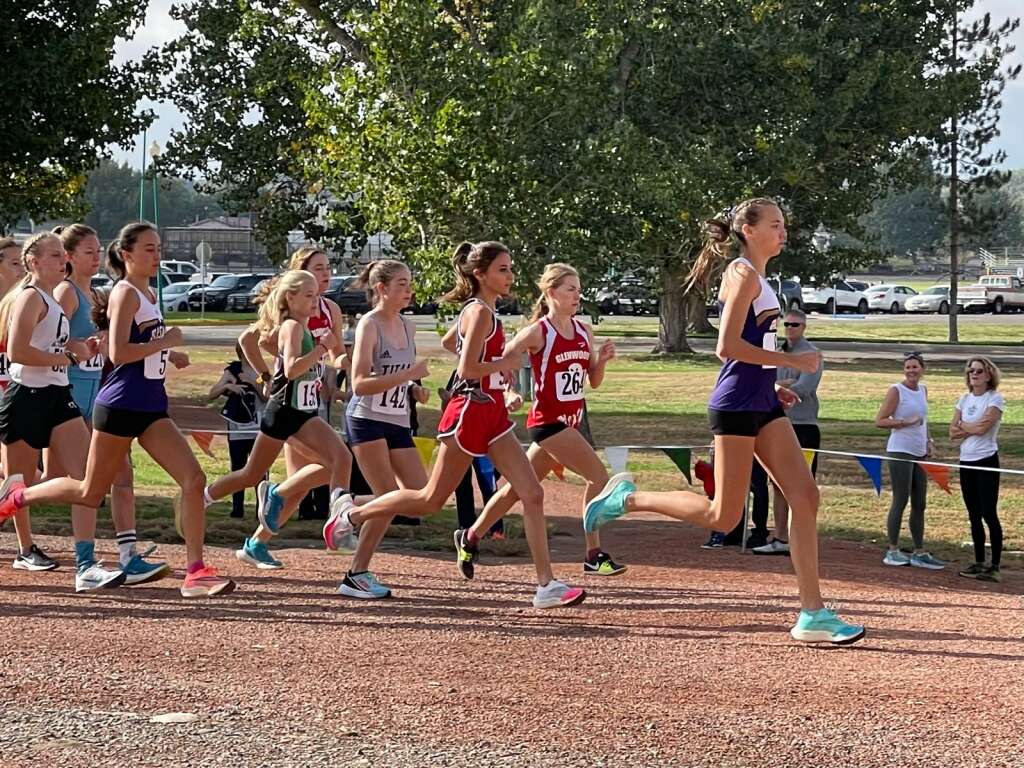 Basalt High School junior Katelyn Maley, right, competes at a cross country meet on Friday, Oct. 1, 2021, hosted by Delta. Courtesy photo.