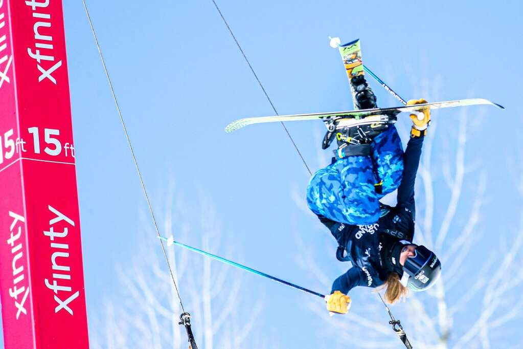 Basalt's Hanna Faulhaber trains in the women's freeski halfpipe qualifier warm-ups of the Land Rover U.S. Grand Prix and World Cup on Friday, March 19, 2021, at Buttermilk Ski Area in Aspen. Photo by Austin Colbert/The Aspen Times.
