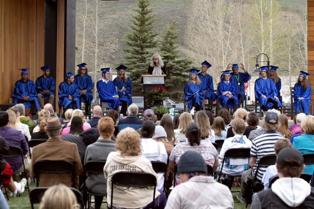 Lisa Harris addresses graduating seniors and guests during the Snowy Peaks High School graduation Wednesday, May 26, at the Silverthorne Performing Arts Center in Silverthorne.   Photo by Jason Connolly / Jason Connolly Photography